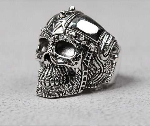 Silver Ring/Rings/Mens Sm Helmet Skull Silver Ring