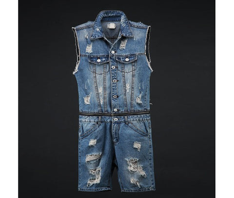 Vintage Men's Denim Damage Short Jumpsuit
