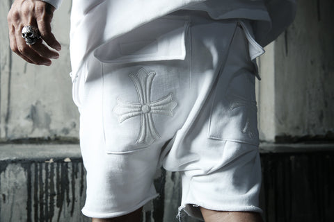 Embroidered Cross White Training Baggy Shorts