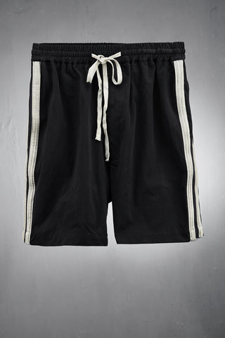 Side Double Beige Line Custom Casual Style Black Shorts