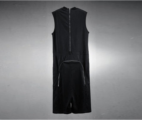 Mens Back Zipper Baggy Fit Cotton Jump Suit