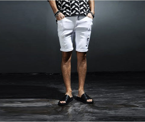 Men's Damaged Solid Shorts