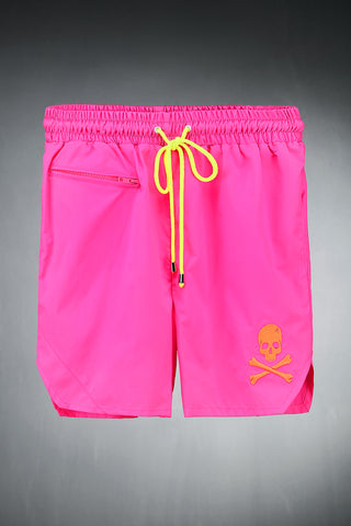 Skull Neon Pink Swimming Trunk