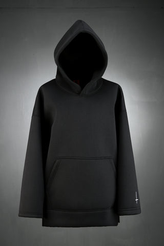 Neoprene hood T-shirt / unique hoodies / trendy / burning man clothing / hiphop / long sleeve t-shirts