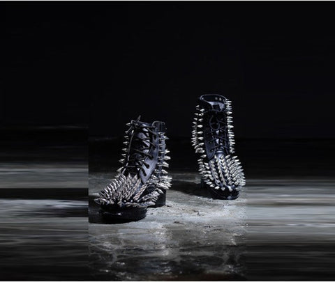 All Over Gothic Fierce Metal Studded Real Leather Boots
