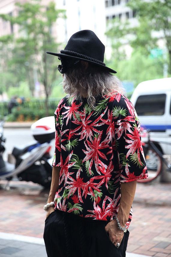 mens tops/men shirts/top summer shirt/men's summer shirt/shirt psychedelic/punk rock/Mens hawaian palm tree T-shirt