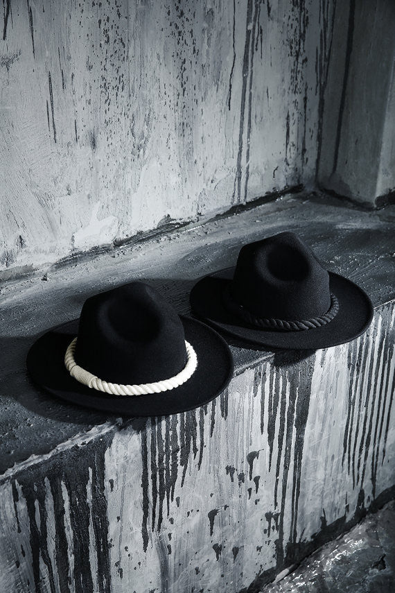 fedoras/fedora hats/boho hat/ embroidered hat/ Men's dark rope mountain hat