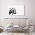 ELEPHANT WALL ART PRINT IN NURSERY, BLACK AND WHITE ANIMAL PHOTOGRAPHY