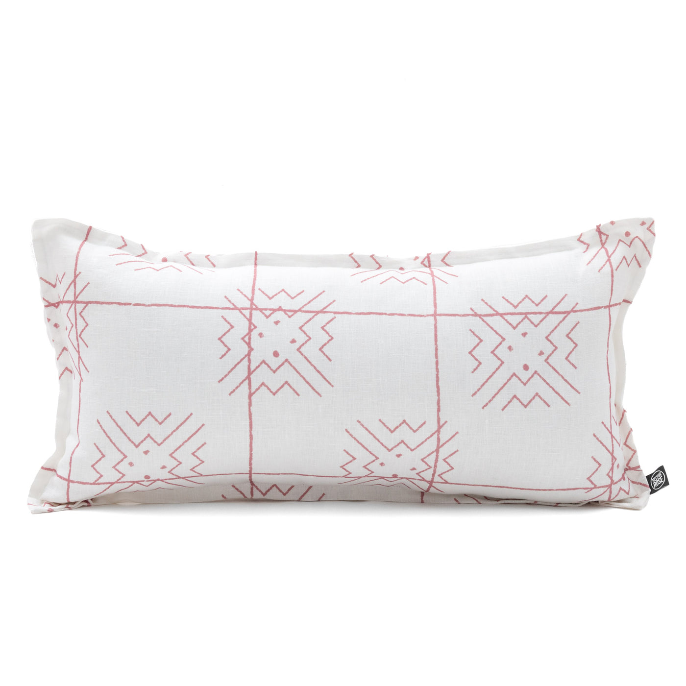 pink and white mudcloth linen cushion Australian made