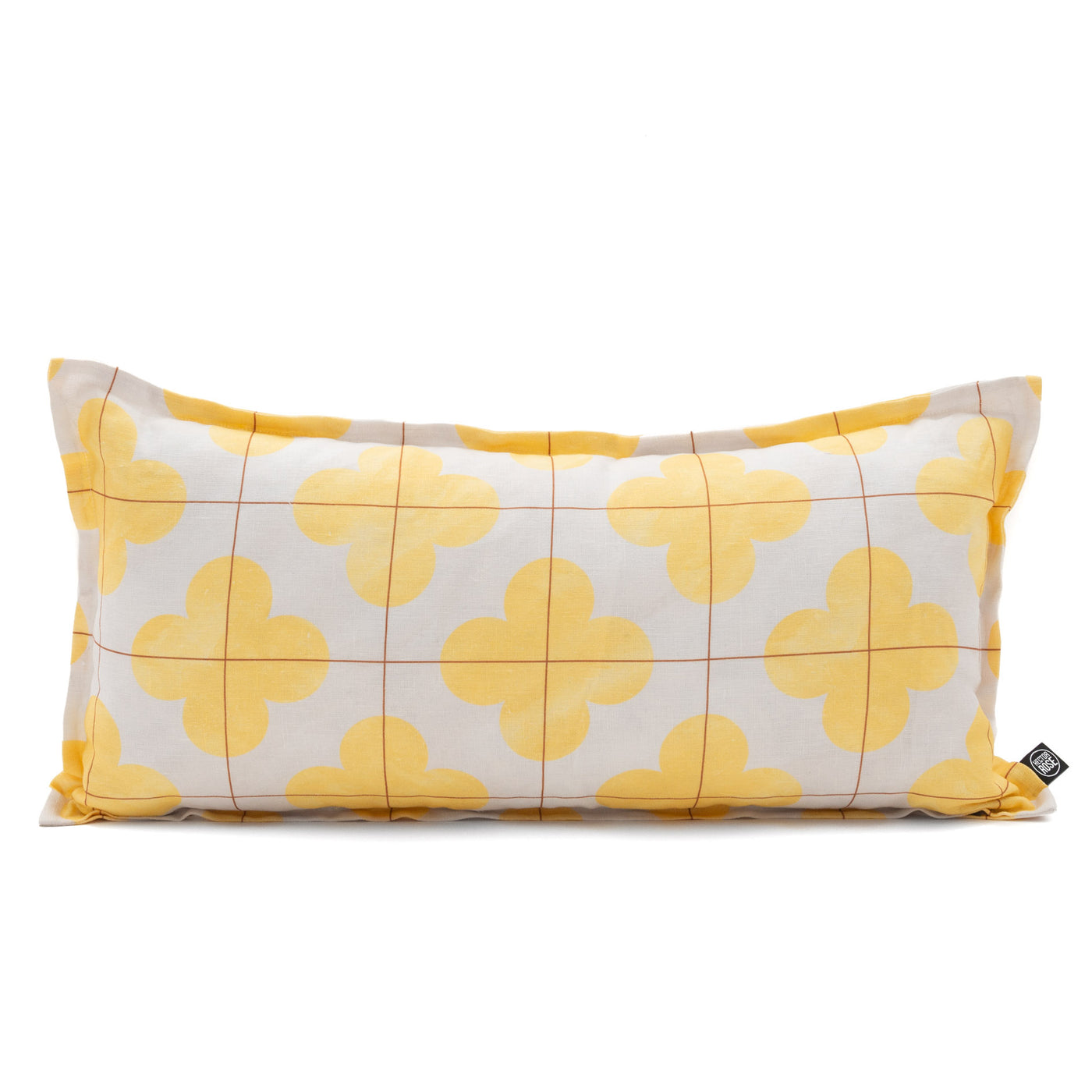 Linen cushion cover lumbar moroccan yellow