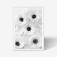 Anemone floral wall art print black and white botanical photography with white frame