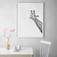 GIRAFFE WALL ART PRINT, BLACK AND WHITE ANIMAL PHOTOGRAPHY