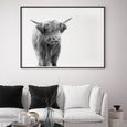 Highland Cow animal wall art print black and white animal photography with black frame