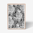 Roses floral wall art print black and white botanical photography with oak frame