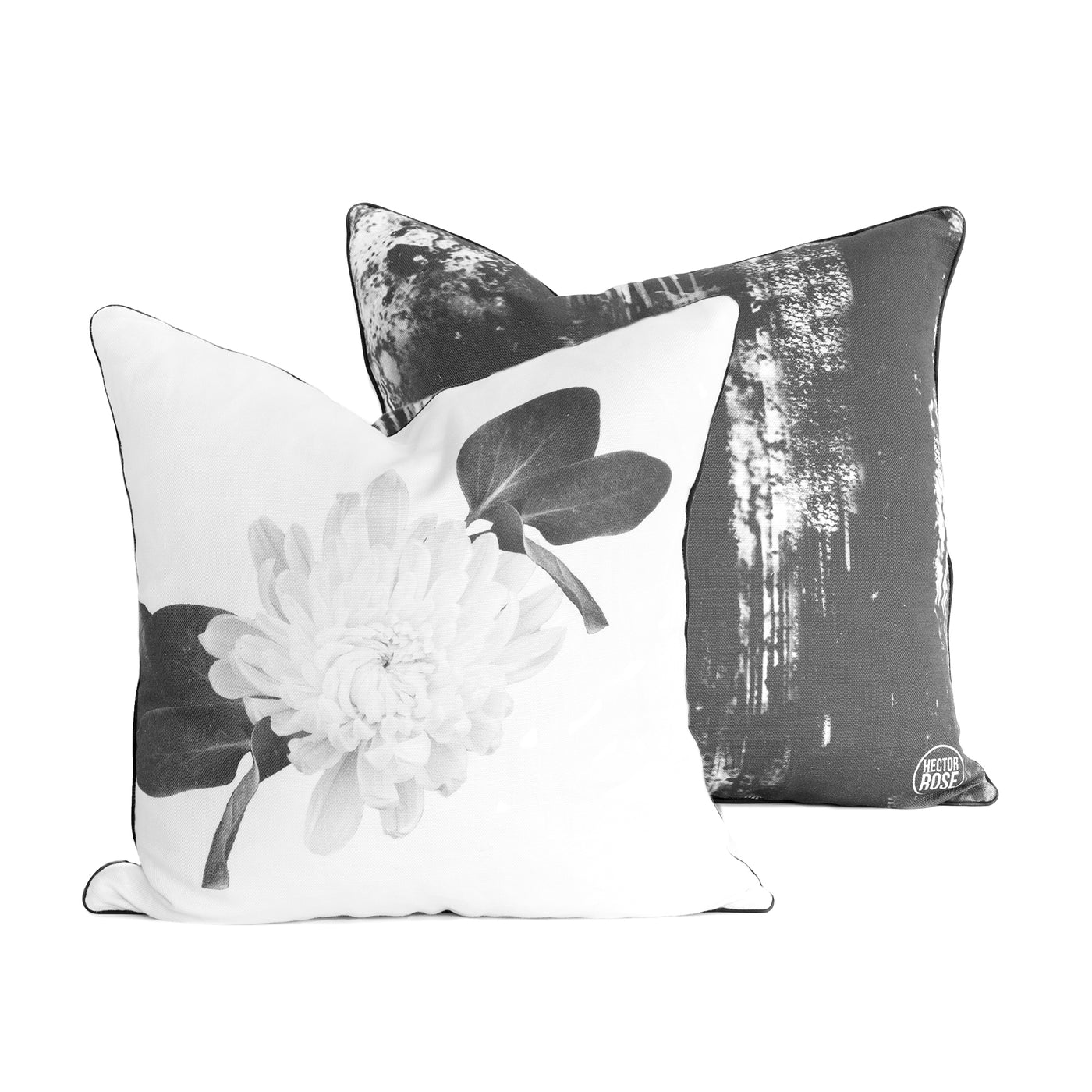 WHITE FLOWER & INK SMUDGE CUSHION