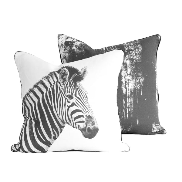 zebra and ink smudge cushion cover