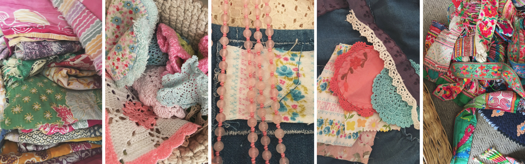 Vintage fabric, tribal trims and crochet patches all used to embelish the new Denim Prairie range by Sea Gypsy