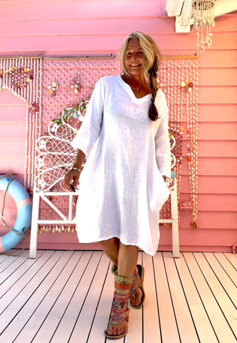 Linen Gypsy V-Neck Dress