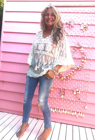 Lace Gypsy Butterfly Kaftan Top