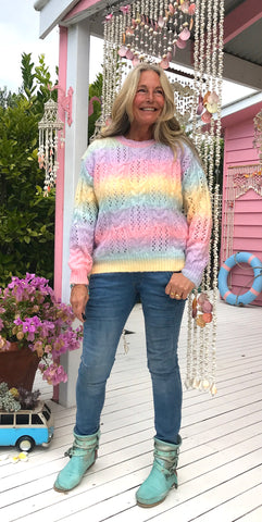 Winter Gypsy Cable Rainbow Jumper