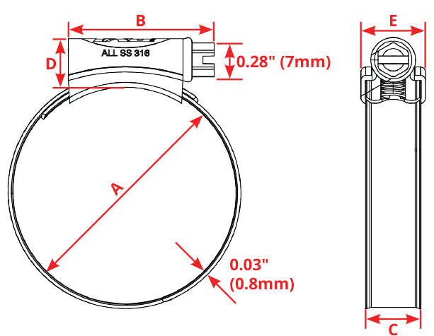 PYI Worm Gear Hose Clamp Dimensions
