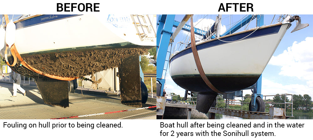 Boat hull before and after with Sonihull
