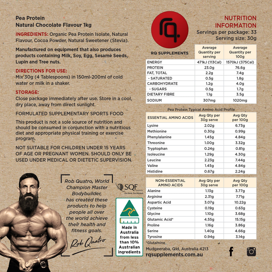 Natural Organic Pea Protein Isolate Chocolate Flavour - RQ Supplements
