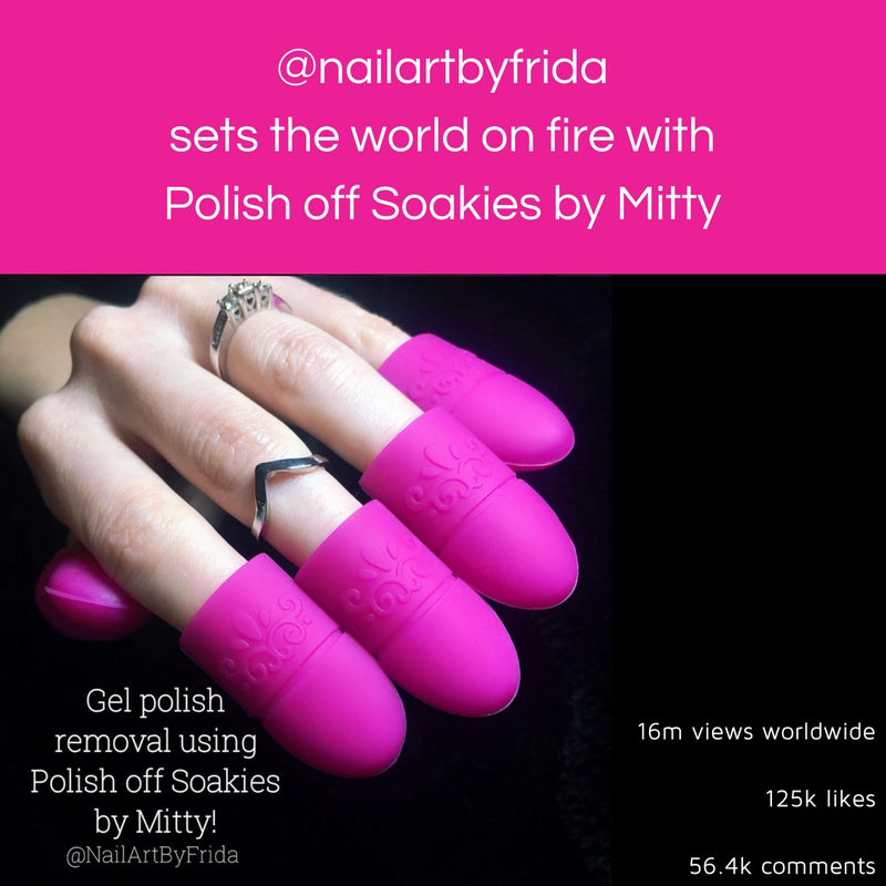@nailartbyfrida sets the world on fire with Polish off Soakies