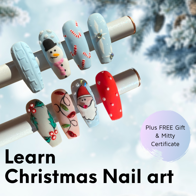 Learn how to draw Christmas nail art