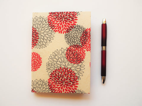 Lokta paper notebook red on cream