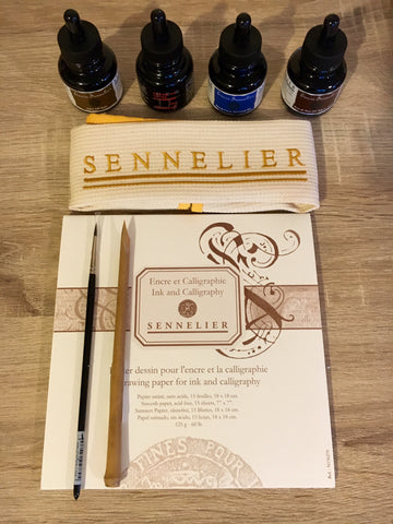 Calligraphy set with inks, brush and bamboo pen