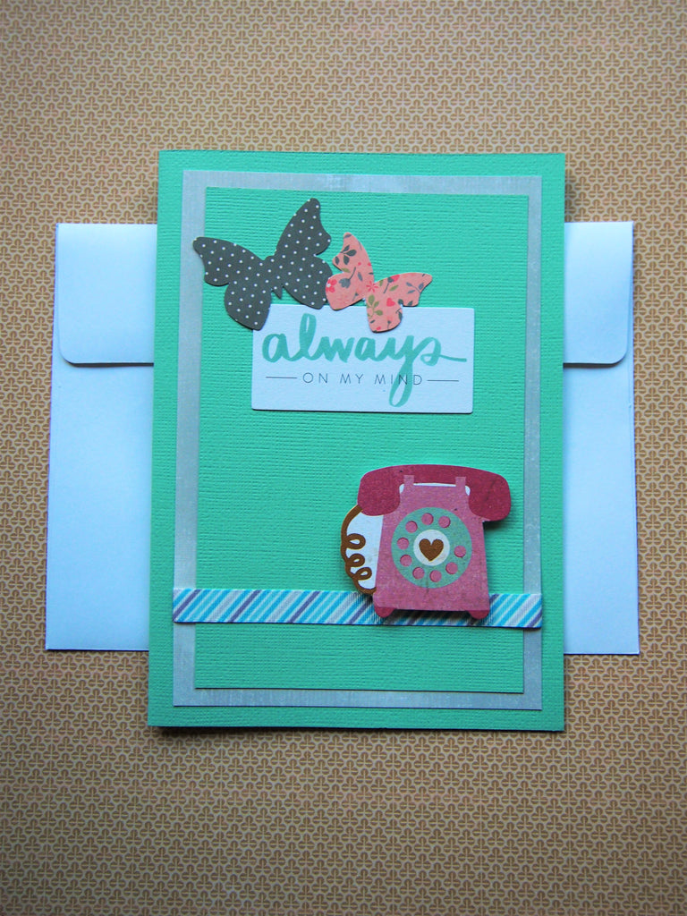 Always on my mind turquoise vintage telephone card
