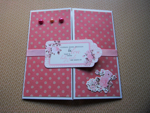 Baby girl pink polka dot square gatefold card