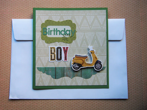 Green Birthday Boy vintage Vespa scooter card