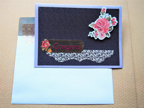 Sophisticated deep purple floral Congrats card--weddings, engagements, all occasions