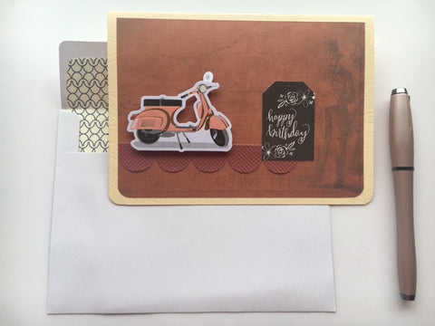 Happy birthday card for men--vintage scooter