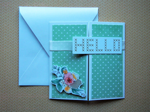 Minimalist and modern Hello gatefold square card handmade on pearlescent cardstock