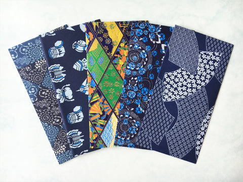 Jumbo premium origami money envelopes in blue and indigo--set of 5