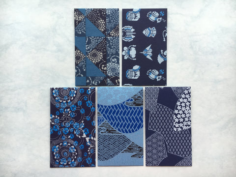 Premium origami money envelopes in blue and indigo, voucher holders, gift card holders