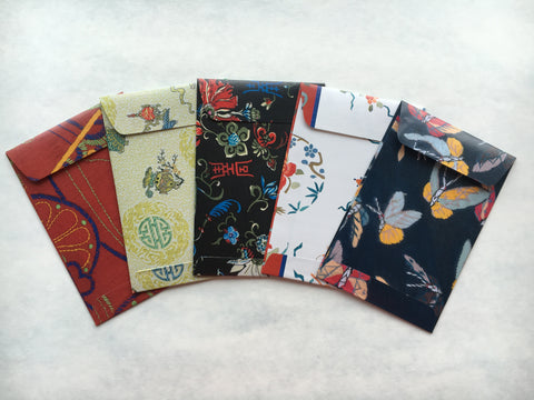 Classic Chinese embroidery patterns money envelopes for Lunar New Year--set of 5 in wide design