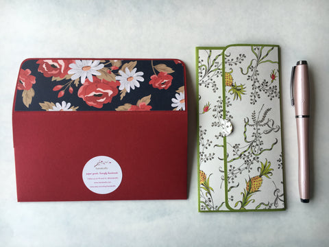 Pineapples and roses long money envelopes for Chinese New Year--set of 2