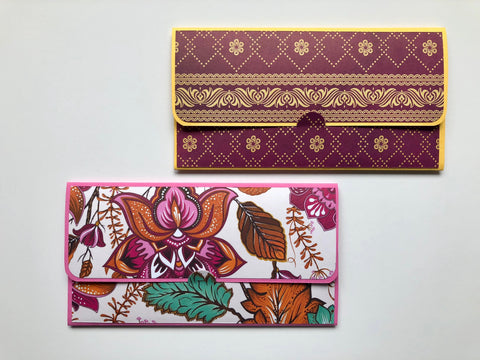 Indian sari and paisley long money envelopes for Diwali--set of 2
