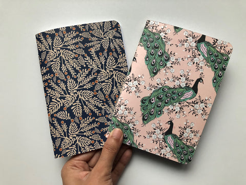 Peacocks and ferns hand-bound notebooks in A6 size--gift set of 2 notebooks