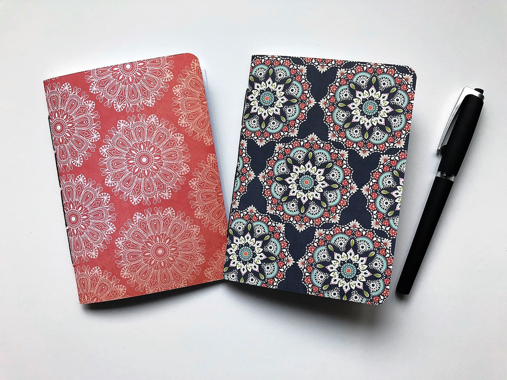 Mandalas in blue and red handbound notebooks in A6 size--gift set of 2 for yoga enthusiasts