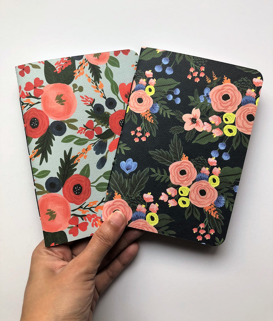 Orange peonies hand-bound notebooks on black and mint--set of 2