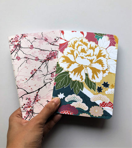 Lovely Japanese flowers hand-bound notebooks for Christmas--set of 2