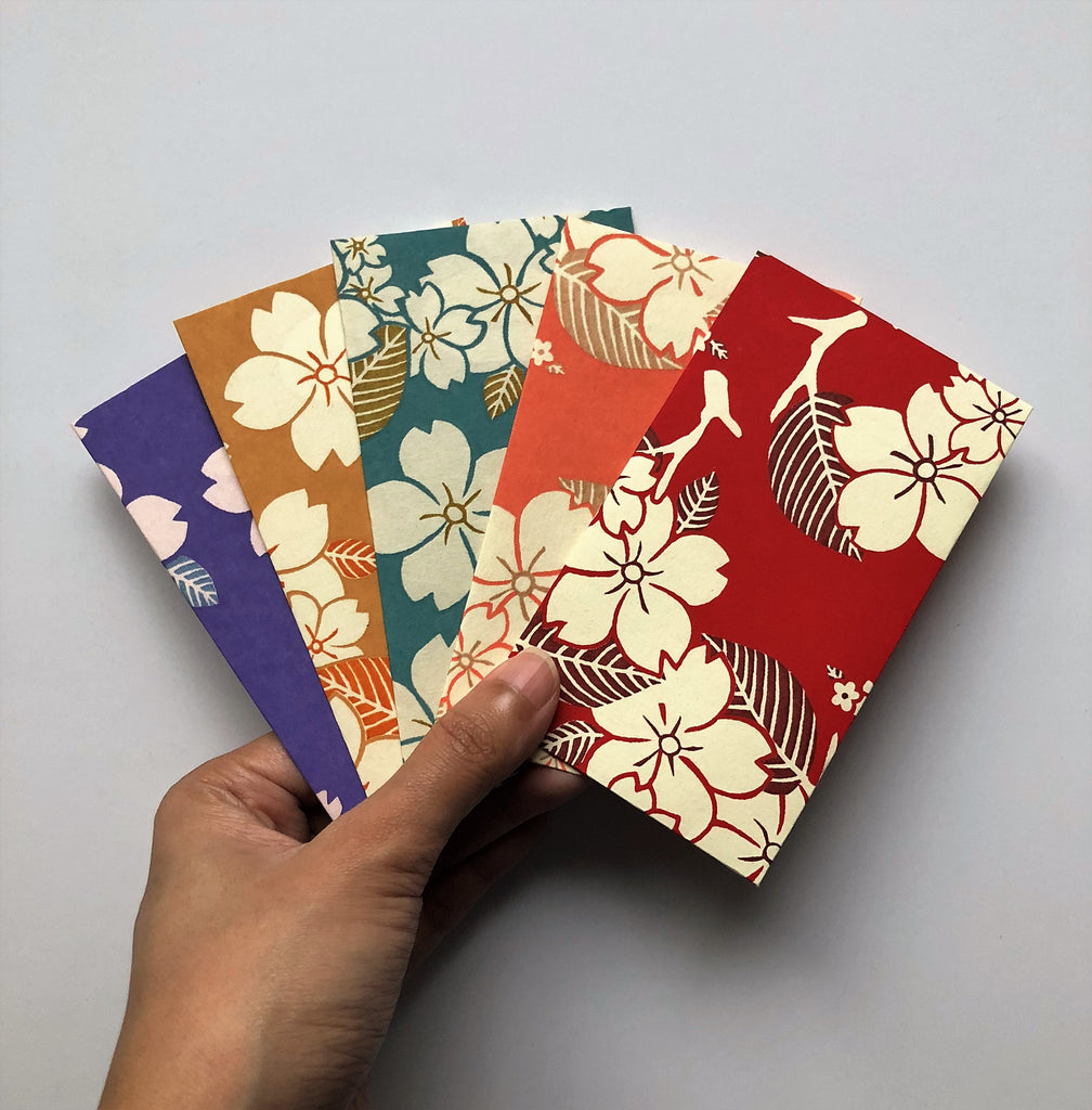 Japanese floral branches money envelopes--limited edition set of 5 in tall design--Set A