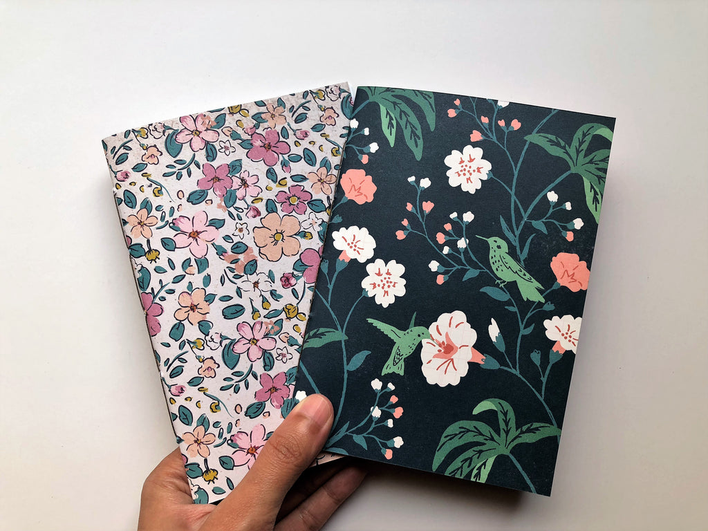 Flowers and hummingbirds hand-bound notebooks--set of 2 for Christmas