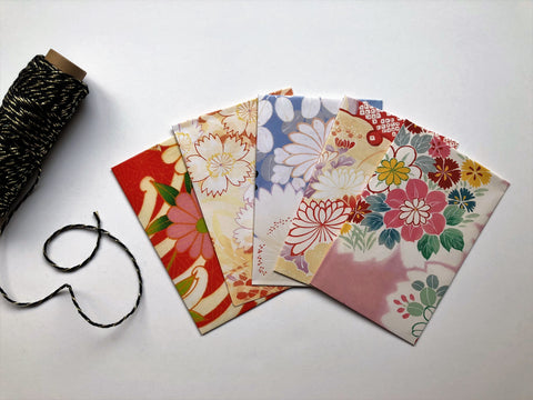 Sweet oriental blooms money envelopes--set of 5 in wide or horizontal size