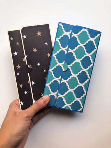 Gold stars and blue tile long money envelopes--set of 2 for Christmas